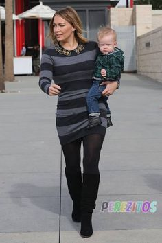 Hilary Duff spotted out with her boys Luca Comrie and Mike Comrie.