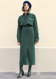 Green Corduroy Pencil Skirt – The Frankie Shop Runway Fashion, Fashion Outfits, Womens Fashion, Fashion Trends, Corporate Women, Fall Skirts, Casual Winter Outfits, Types Of Dresses, Green Fashion