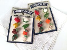 Vintage 50s Vegetable Buttons Set of 16 New by iandrummondstash