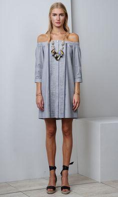 fc2e2d011c5e9 Leslie Off Shoulder Woven Shirt Dress