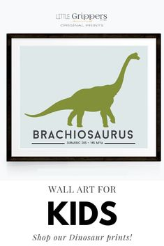 Choose from a selection of 16 different colourful dinosaur to bring any Dinosaur loving toddlers room to life. Customisable size, and colours! #Dinosaur #toddlerboys #kidswallart #colourfulprints Dinosaur Prints, Velociraptor Dinosaur, Tyrannosaurus Rex, Art For Kids, Toddlers, Kids Shop, Colours, Wall Art, Room
