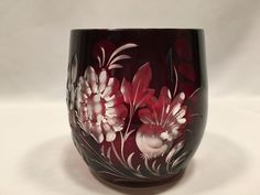 Ruby Red Cut to Clear Mug Floral Barrel Coffee Tea Cup 4 1/8 Inches High #Unbranded