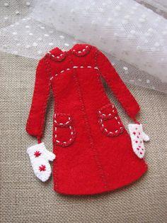 Red winter coat felt ornament Felt Ornaments, Christmas Tree Ornaments, Christmas Deco, Christmas Projects, Christmas Holidays, Xmas Crafts, Felt Crafts, Felt Dolls, Handmade Christmas