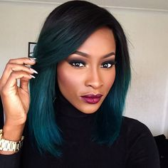 BeautyByJJ Jennie Jenkins Flawless Makeup Short Hair Hairstyle On Fleek Black And Teal Blue Green Mermaid Ombre Dip Dye Kylie Jenner Inspired Graduated Bob Side Parting Part Beautiful Black Women Beauty African American British Makeup Artist Youtube Guru Youtuber Successful Business Hot Sexy