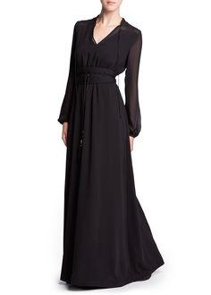 Lange jurk met chiffon panden