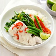 Ginger-poached fish with spicy vegetables Fish Dishes, Green Beans, Spicy, Menu, Traditional, Chicken, Vegetables, Food, Menu Board Design