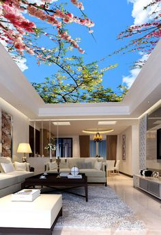3D Flower Tree Ceiling 0852 Wall Paper Wall Print Decal Wall Deco AJ WALLPAPER #AJWALLPAPER