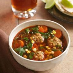 Chipotle Albondigas Soup Just a bit of spicy chorizo sausage add lots of flavor to the meatballs in this hearty Mexican soup. Vitamin A, Healthy Soup Recipes, Mexican Food Recipes, Ethnic Recipes, Albondiga Recipe, Chipotle, Freezable Soups, Albondigas Soup Recipe, Healthy Meatballs