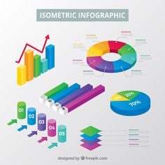 Inforgraphic elements collection in isometric style Free Vector Infographic Powerpoint, Timeline Infographic, Creative Infographic, Infographic Templates, Infographics, Isometric Art, Isometric Design, Software, Curriculum Template