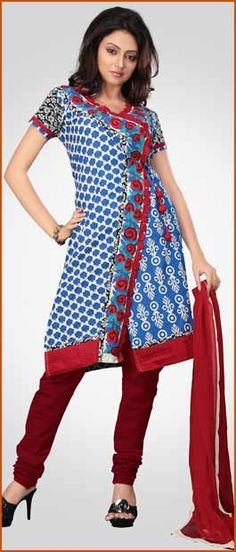 Blue and Off White Cotton Churidar Kameez With Dupatta    Itemcode: KTK33    Price: US$ 80.13    Click @ http://www.utsavfashion.com/store/sarees-large.aspx?icode=ktk33