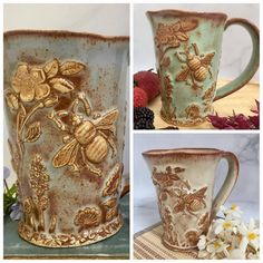 The bee garden mug is now available in blue green or creamy oatmeal. A few of each color will be available in tonight's PM EST Shop Restock. Each one is hand-built and formed from a slab of clay. Pottery Mugs, Ceramic Pottery, I Love Bees, Bee Skep, Clay Mugs, Bee Art, Ceramic Studio, Bee Theme, Save The Bees