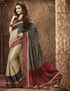 Light Coffee, Red & Black Color Bhagalpuri Casual Wear Sarees : Barkat Collection YF-29976