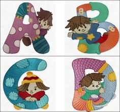 """""""Cuddly Kiddies Alphabet"""" These cuddly kids are living it up with their own patchwork alphabet! Each cute child is either peeking out at you or using their letter as a toy or jungle gym! What a fun and cheerful way to personalize a child's room, or clothing! Come romp with the gang today!   #kidsalphabet #embroideryfont"""