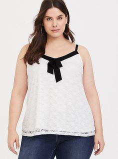 30bf1ad95ddb6 White   Black Bow Lace Swing Cami. Plus Size ...