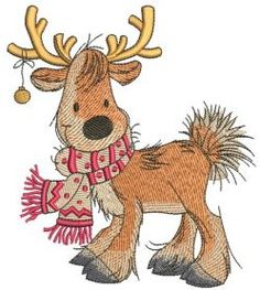 Cute Christmas deer machine embroidery design. Machine embroidery design. www.embroideres.com