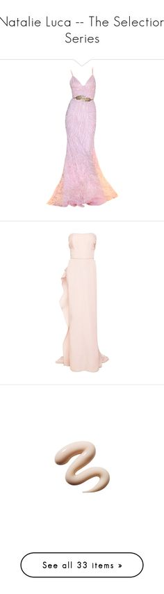 """""""Natalie Luca -- The Selection Series"""" by lonely-wallflower ❤ liked on Polyvore featuring dresses, gowns, long dresses, 13. dresses., vestidos, long pink dress, pink gown, pink dress, tube dress and marchesa"""