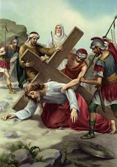 Seventh Station: Jesus falls the second time: This is the second time you have fallen on the road. As the cross grows heavier and heavier it becomes more difficult to get up. But you continue to struggle and try until you're up and walking again. You don't give up.