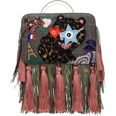 The Volon fringe Bon-Bon Tiger bag ($1,564) ❤ liked on Polyvore featuring bags, handbags, fringe handbags, colorful bags, multi color purse, multicolor bag and multi coloured bags