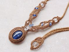 kyanite & quartz necklace - macrame!