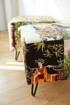 Made from vintage needlepoint tapestries. Asian Decor, Home Comforts, Upholstered Furniture, Cool Furniture, Fiber Art, Needlepoint, Decoration, Repurposed, Upholstery