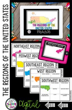 Looking for a digital guide for your elementary students to use while researching the regions of the United States? These guides can be used while learning about the 5 Regions of the United States. These digital guides can be uploaded to your Google Classroom for at home learning, remote learning, blended learning, or distance learning. #5thgrade #teachingresources #digitallearning #distancelearning