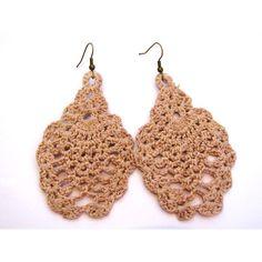 Brinco de crochê endurecido feito com linha 100% algodão mercerizada. Pode ser de outras cores. R$10,00