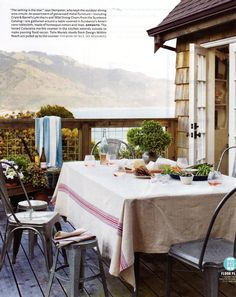 Rustic table setting for outdoor eating