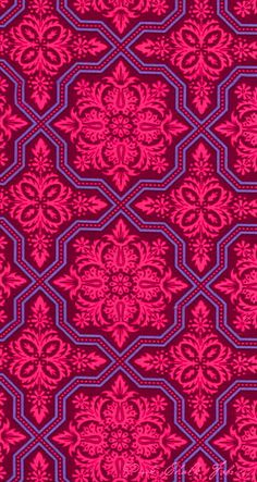 geometric rose and purple (coquidv) Pretty Patterns, Beautiful Patterns, Color Patterns, Square Patterns, Textile Patterns, Textile Design, Fabric Design, Fabric Wallpaper, Pattern Wallpaper