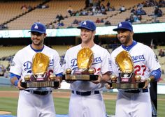 Andre Ethier Clayton Kershaw and Matt Kemp of the Los Angeles Dodgers pose with their 2011 Golden Gloves Dodgers Girl, Dodgers Fan, Dodgers Party, Baseball Boys, Dodgers Baseball, Baseball Wall, Softball, Mlb Players, Baseball Players