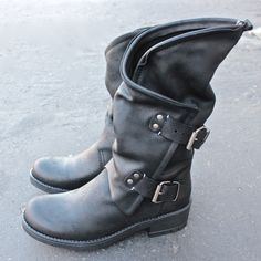 Alida leather motorcycle boots - black