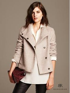 would be so cute for work!!  banana republic Monogram Pink Boucle Jacket