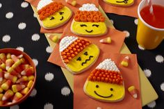 You and the kids will have fun learning easy piping techniques by decorating silly faces on candy corn cookies. Sign up at @joannstores