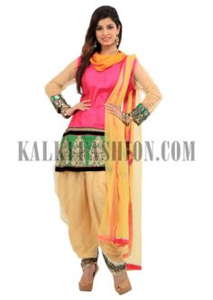 Rani pink patiala suit with zari embroidery