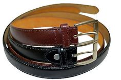 """Dress Belt Mens Big And Tall New Set Of 2 Black Brown Size 52"""" Stylish Buckle"""