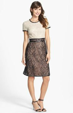 Mikael Aghal Colorblock Lace Dress with Leather Trim available at #Nordstrom