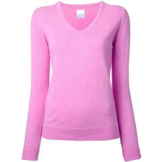 Cityshop 'City' v-neck jumper (170 CAD) ❤ liked on Polyvore featuring tops, sweaters, pink, pink v neck sweater, v-neck tops, v-neck jumper, v-neck sweater and cotton cashmere sweater