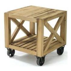 Chatsworth Solid Chunky Reclaimed Wood Cart End Table Home & Kitchen
