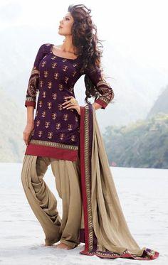 USD 55.72 Purple Embroidery Silk Punjabi Salwar Suit 29813