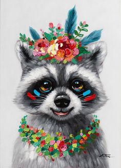 ANIMAL POP-ART Table Raccoon with necklace and crown of flowers – Info and Dimensions Width: 50 cm – Depth: cm – Height: 70 cm – Composition: Canvas on wood, Acrylic paint – Finishes: Gyclé paint – Weight : kg – Art Pop, Pop Art Drawing, Pop Art Design, Animal Paintings, Animal Drawings, Cute Drawings, Pop Art Paintings, Watercolor Animals, Watercolor Art