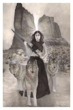 Loups Wolf originale et guerrier femme Art par PearlWhitecrow
