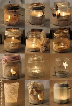 Rustic Christmas Mason Jar Ideas Here are different ways to decorate a simple mason jar candle holder. Use old music sheets, or book sheers, some twigs, ribbons and more. candles in mason jars easy Mason Jar Christmas Crafts, Christmas Candles, Mason Jar Crafts, Rustic Christmas, Christmas Diy, Bottle Crafts, Coffee Jar Crafts, Christmas Candle Holders, Christmas Ornaments