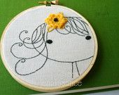Embroidery Pattern PDF Girl with Flower