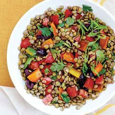 Grilled Peppers and Lentil Salad | CookingLight.com
