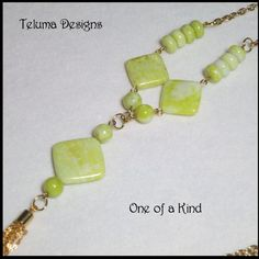 http://www.sellergroup.com/shop/TelumaDesigns  Extra Long Necklace with Gold Plated Chain Tassel.1920s inspired Flapper style. Soft pastel tones of Lime, Yellow and Cream yet vibrant and somewhat Retro. OOAK Handmade by Teluma Designs (Code 341N)