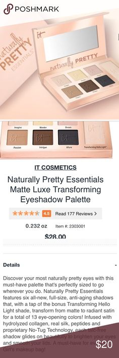 🌷it cosmetics palate Naturally pretty essentials eyeshadow palette. Purchased from Ulta. Lots of product left!! it cosmetics Makeup Eyeshadow