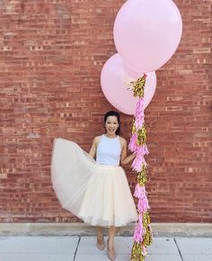 tulle birthday outfit with giant balloons, skirt, midi skirt, blush, pastel