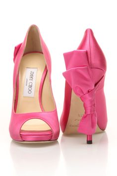 A pair of pink Jimmy Choo stilettos with a bow on the heel! Pretty in Pink! Stilettos, Stiletto Heels, Glitter Heels, Zalando Shoes, Cute Shoes, Me Too Shoes, Awesome Shoes, Pretty Shoes, Zapatos Shoes