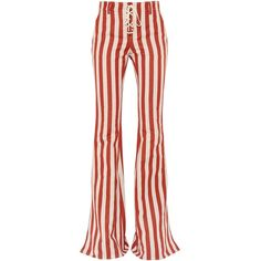 Roberto Cavalli Women Striped Hemp & Cotton Twill Flared Pants ($1,165) ❤ liked on Polyvore featuring pants, striped trousers, pocket pants, flare pants, roberto cavalli and flared pants
