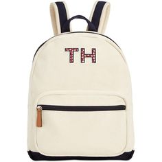 Tommy Hilfiger Pam Dome Backpack ($98) ❤ liked on Polyvore featuring bags, backpacks, white backpack, tommy hilfiger, white bag, strap bag and backpack bags