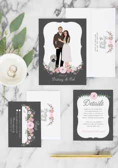 These floral wedding details cards feature all of your important wedding information in our rustic, floral wedding design style.
